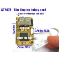 mini pci-e,mini PCI,LPC,ELPC and battery port 5in1 laptop diagnostic post debug card