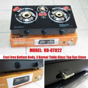 China tempered glass three burner table top gas stove/cooktop (RD-GT022) on sale