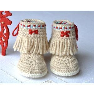 China CROCHET PATTERN Baby Booties Fringe Moccasins 3 Sizes Photo Native American Style Baby Shoes on sale
