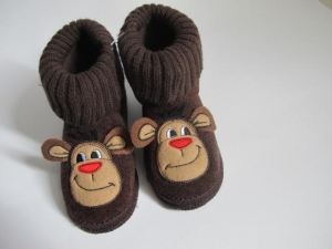 China Knit Fabric Boots Contact Now Lovely Big Mouth Monkey Heads Boots For Girls on sale