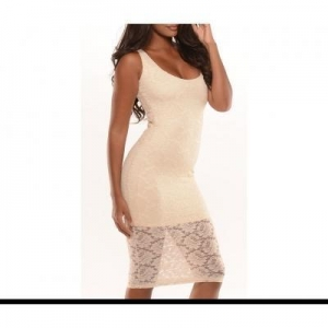 China Fashion Pure White Lace Women Sexy Sleeveless Summer Midi Dress QQM3022 #QQM3022 on sale