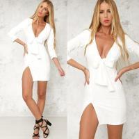 White Deep V Bow Tie Front Sexy Mini Dress with Slip Side WMZ2002 #WMZ2002