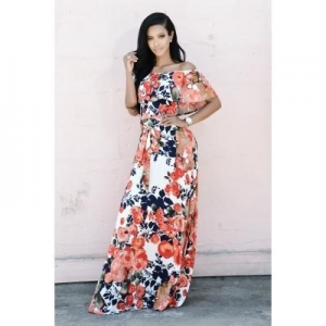 China Flower Printed Off Shoulder Fashion Party Long dress in 2 Color QZ0718 #QZ0718 on sale