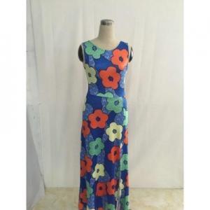 China Slip Side Flower And Hole Backside Summer Vintage Dress QZ7088 #QZ7088 on sale