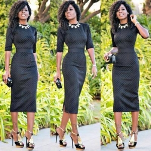 China Solid Black Women Fashion Half Sleeves Slim Dress A8053 #A8053 on sale