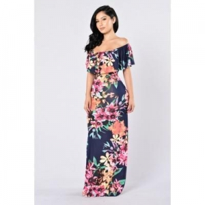 China Floral Printed Lady Fashion Ruffed Top Off Shoulder Prom Dress #QZ0808 on sale
