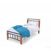 China Bed Frames Metal Beds Kentucky 3ft (90cm) Single Black and Antique Oak Bed Frame on sale