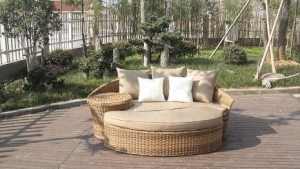 China outdoor wicker daybed with canopy Esr-7212 on sale