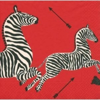 Zebras red Paper Cocktail Napkins - 20 per package