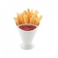 Plastic French fries cup with 2 section can put with dipping sauce