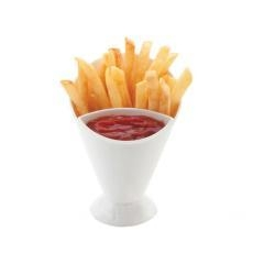 China Plastic French fries cup with 2 section can put with dipping sauce on sale