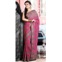 China Sarees Pink Embroidered Crape Saree on sale