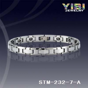 China Products: Polished Shiny &Faceted Side Links Hematite Magnet Tungsten Bracelet STM-232-7-A on sale