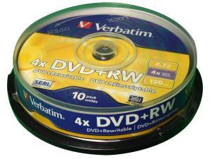 China Verbatim DVD+RW Spindle Ref 43488 [Pack 10] on sale