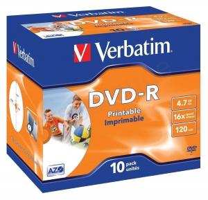 China Verbatim 10PK Inkjet 4.7GB 16X DVD-R JC Ref 43521 on sale