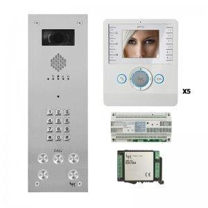 China BPT - 5 Way Vandal Resistant Kit with Keypad and White Perla Monitors on sale
