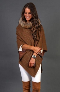 China Women Tweed and Fur Wrap (Conker) on sale