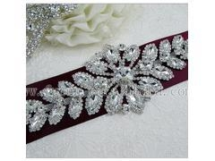 China 7.9 x 3 inch Crystal Rhinestone Floral Applique Silver Patch DIY Bridal SASH wedding hair decoration on sale