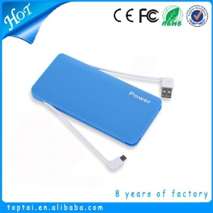 China Ultra-slim Portable Backup External Battery Charger Power Bank With Built-in Micro-USB Cable on sale