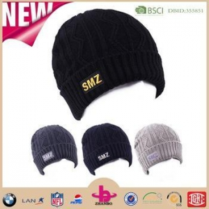 China Factory wholesale custom knit acrylic beanie with custom label on sale