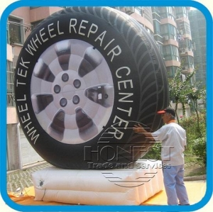 China 15ft tall Inflatable Tire/Wheel with blower,use outdoor advertising,best supplier here on sale