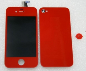 China FULL KIT - IPHONE 4 CDMA COMPATIBLE , LCDDIGITIZER + BACK DOOR + HOME BUTTON (RED COLOR) NO LOGO on sale