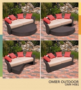 China backyard outdoor daybed poly-wicker patio furniture OMR-H081 on sale