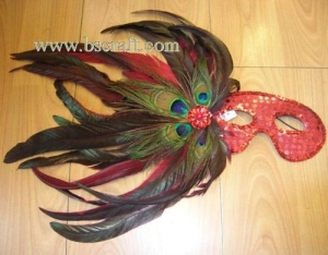 China bsm171 side feather mask/halloween mask/decorative mask with handle/holiday mask/masquerade mask on sale