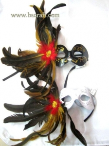 China bsm166ab side feather mask/halloween mask/decorative mask with handle/holiday mask/masquerade mask on sale