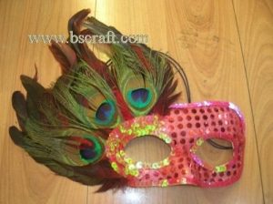 China bsm167 side feather mask/halloween mask/decorative mask with handle/holiday mask/masquerade mask on sale