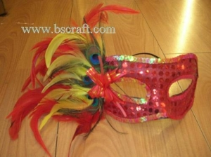 China bsm168 side feather mask/halloween mask/decorative mask with handle/holiday mask/masquerade mask on sale