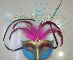 China bsm209 feather mask/halloween mask/decorative mask with handle/holiday mask/masquerade mask on sale