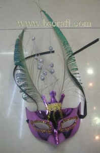 China bsm206 feather mask/halloween mask/decorative mask with handle/holiday mask/masquerade mask on sale