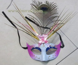 China bsm226 feather mask/halloween mask/decorative mask with handle/holiday mask/masquerade mask on sale