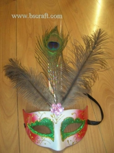 China bsm237 feather mask/halloween mask/decorative mask with handle/holiday mask/masquerade mask on sale