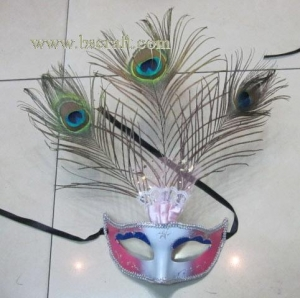 China bsm233 feather mask/halloween mask/decorative mask with handle/holiday mask/masquerade mask on sale