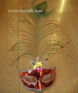 China bsm223 feather mask/halloween mask/decorative mask with handle/holiday mask/masquerade mask on sale