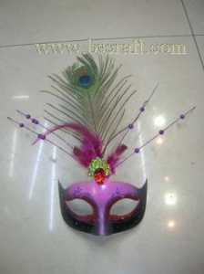 China bsm221 feather mask/halloween mask/decorative mask with handle/holiday mask/masquerade mask on sale