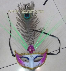 China bsm225 feather mask/halloween mask/decorative mask with handle/holiday mask/masquerade mask on sale