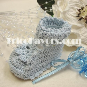 China Knitted: Baby Booties-Blue on sale