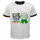 China Men's customized LIFE IS FULL TIME JOB 100% Cotton White Ringer T-shirt on sale