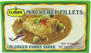 China Flower Brand Mackerel Fillets in Green Curry Sauce 4oz. on sale