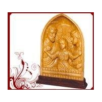 White Wood Jesus Mary Statues