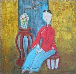 China Contemporary Chinese Oil Painting - Maiden #48 on sale