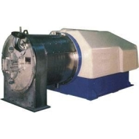 Two-stage push piston discharge centrifuge
