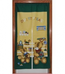 China Door Decor Pretty Green Bear fabric Door Curtain D2915 on sale