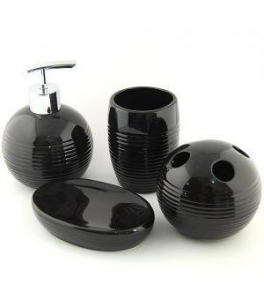 China Bathroom Accessory Lovely Black Ceramic Bath Accessory Sets X2501 on sale