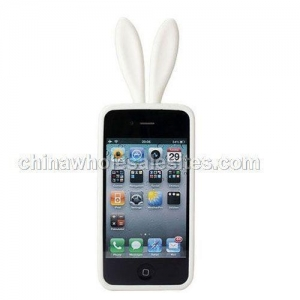 China New iphone4 bunny cell phone silicone cover white with no tail on sale