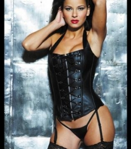 China Pvc Leather Criss Cross Lace Up Front Corset - 20% off on sale
