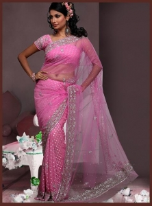 China DESIGNER SAREES Pink Sophisticated Net saree on sale